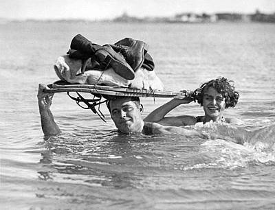 Exercise Photograph - La Snow To Surf Race by Underwood Archives
