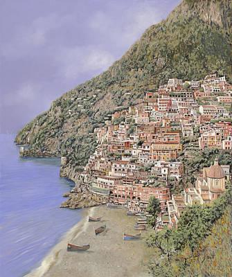 la spiaggia di Positano Art Print by Guido Borelli
