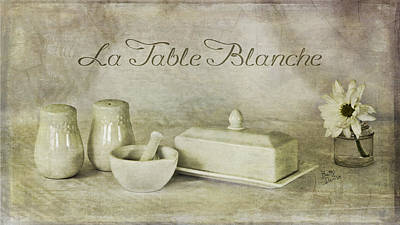 La Table Blanche - The White Table Art Print by Betty Denise