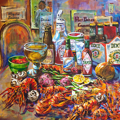 Food And Beverage Painting - La Table De Fruits De Mer by Dianne Parks