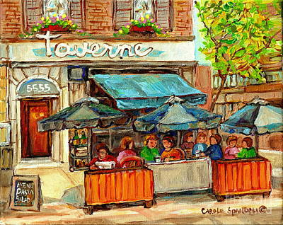 Painting - La Taverne Monkland Bistro Brasserie Sidewalk Paris Cafe Paintings City Scenes Montreal C Spandau by Carole Spandau