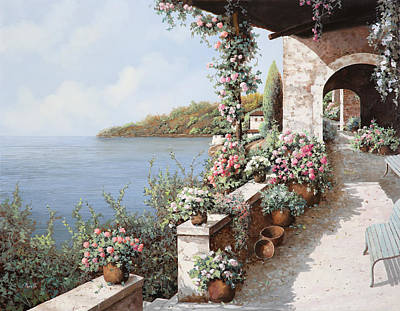 Vase Wall Art - Painting - La Terrazza by Guido Borelli