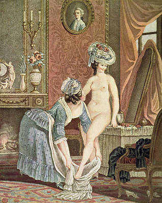 Nudes Drawing - La Toilette Engraving By Louis Marin by Nicolas Rene Jollain