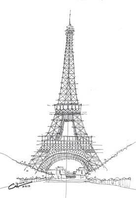 Art Print featuring the drawing La Tour Eiffel Sketch by Calvin Durham