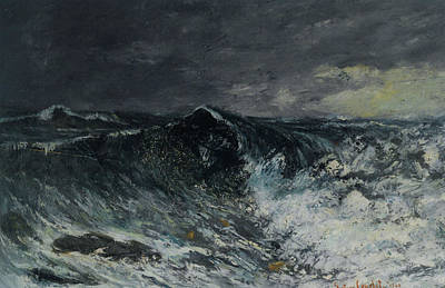 Raging Digital Art - La Vague by Gustave  Courbet