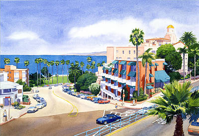 La Jolla Painting - La Valencia And Prospect Park Inn Lj by Mary Helmreich