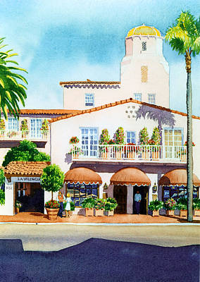 Hotel Painting - La Valencia Hotel by Mary Helmreich