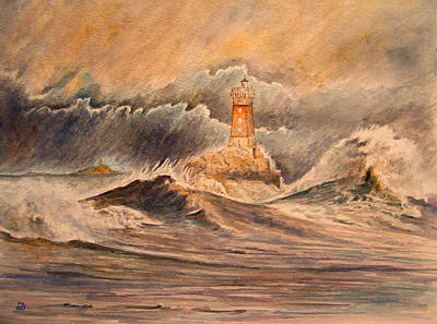 Storms Painting - La Vieille Lighthouse by Juan  Bosco