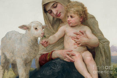 Embrace Painting - La Vierge A Lagneau by William-Adolphe Bouguereau