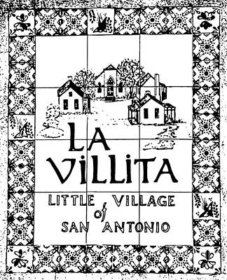 Digital Art - La Villita Tile Sign On The Riverwalk San Antonio Texas Black And White Stamp Digital Art by Shawn O'Brien
