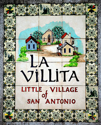 La Villita Tile Sign On The Riverwalk San Antonio Texas Watercolor Digital Art Art Print