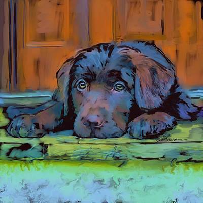 Black Lab Digital Art - Lab Puppy by Donna Johnson