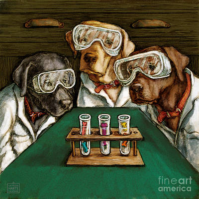 Black Lab Mixed Media - Lab Techs by Kathleen Harte Gilsenan