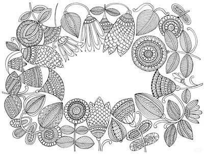 Fun Flowers Drawing - Label Pattern 5 by Neeti Goswami