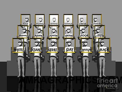 Discrimination Digital Art - Labels by Walter Oliver Neal
