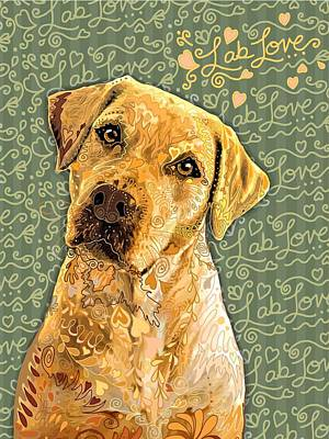 Dog Painting - Lablove Yellow by Sharon Marcella Marston