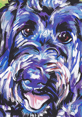 Colorful Dog Painting - Labra Doodly Do by Lea S