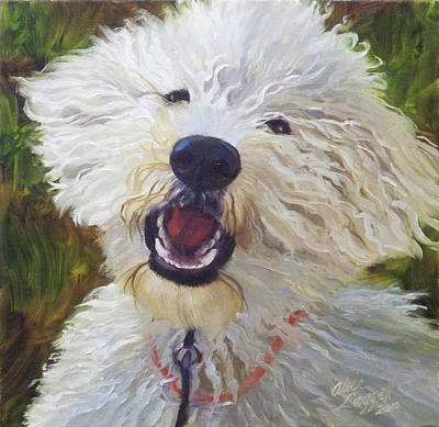 Portrait Commissions Painting - Labradoodle by Alice Leggett