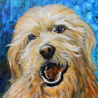 Dog Close-up Painting - Labradoodle by Judy Bruning