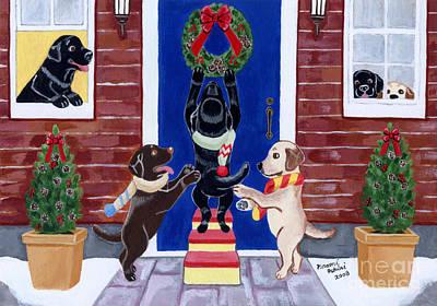 Chocolate Labrador Retriever Painting - Labrador Christmas Fun by Naomi Ochiai