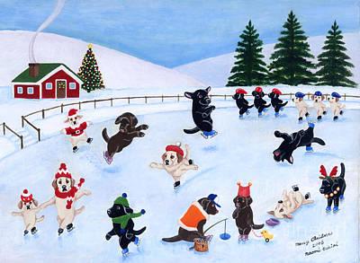 Chocolate Labrador Retriever Painting - Labrador Christmas Ice Skating by Naomi Ochiai