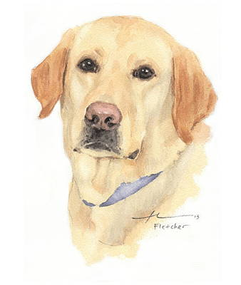 Painting - Labrador Dog Watercolor Portrait  by Mike Theuer