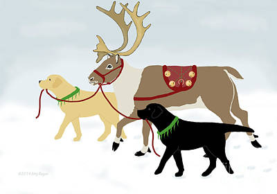 Labs Digital Art - Labrador Dogs Lead Reindeer by Amy Reges