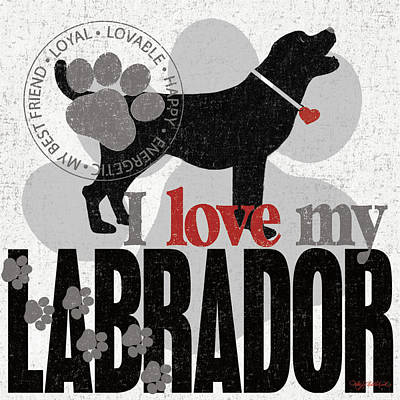 Family Love Painting - Labrador by Kathy Middlebrook