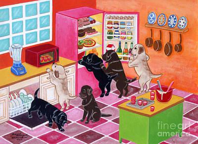 Chocolate Labrador Retriever Painting - Labrador Kitchen Party by Naomi Ochiai