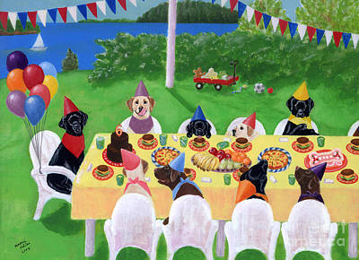 Chocolate Labrador Retriever Painting - Labrador Party by Naomi Ochiai