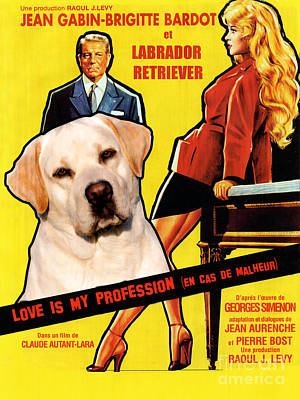 Painting - Labrador Retriever Art Canvas Print - Love Is My Profession Movie Poster by Sandra Sij