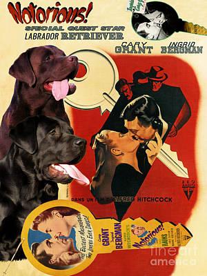 Painting - Labrador Retriever Art Canvas Print - Notorious Movie Poster by Sandra Sij