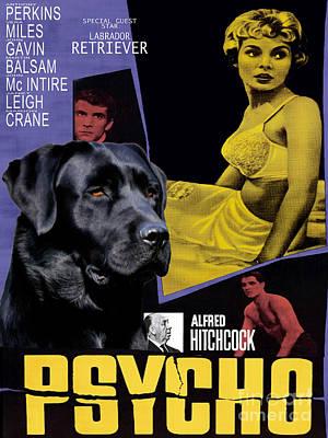 Painting - Labrador Retriever Art Canvas Print - Psycho Movie Poster by Sandra Sij