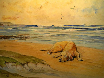 Dog Beach Painting - Labrador Retriever In The Beach by Juan  Bosco