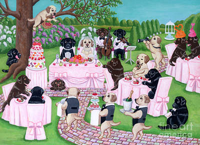 Chocolate Labrador Retriever Painting - Labrador Wedding Party by Naomi Ochiai