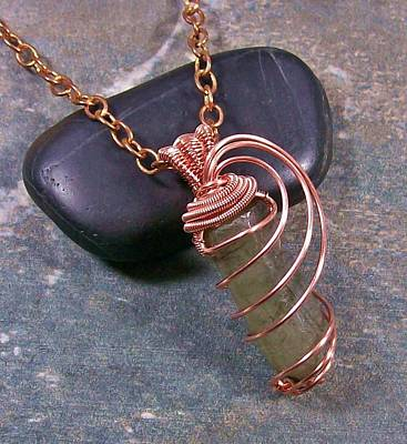 Heather Jordan Jewelry - Labradorite And Copper Crystal Point Pendant by Heather Jordan