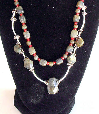 Blue Labradorite Photograph - Labradorite Silver And Red Necklace by William  Bennett