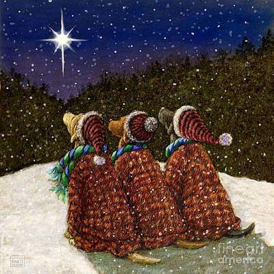 Black Lab Mixed Media - Labs Under The Christmas Star by Kathleen Harte Gilsenan