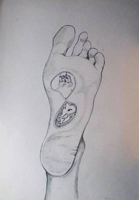 Contemporary Surrealism Drawing - Labyrinth Foot Pie Laberinto by Lazaro Hurtado