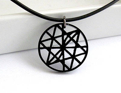 Perspex Necklace Jewelry - Labyrinth Of Triangles Unisex Pendant Necklace by Rony Bank