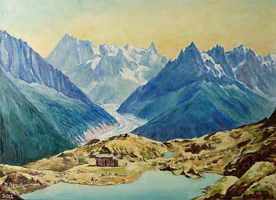Chamonix Painting - Lac Blanc In Chamonix Valley by Danielle Arnal