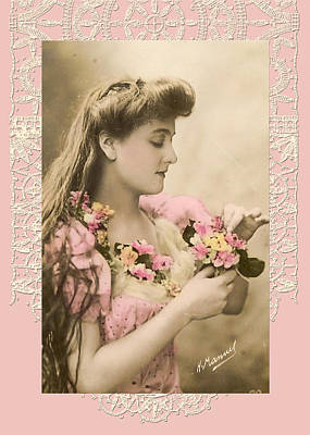 Lace And Poisies Victorian Lady Art Print by Denise Beverly