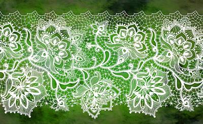 Digital Art - Lace - Emerald by Lilia D