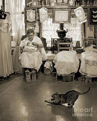 Foot Stool Photograph - Lace Lady Of Burano-bw by Jennie Breeze
