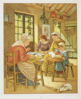 Lace Makers Of Caen Art Print by British Library