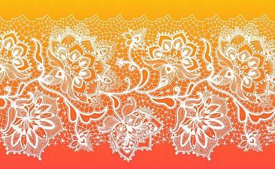 Digital Art - Lace - Orange by Lilia D