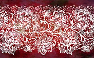 Digital Art - Lace - Ruby by Lilia D
