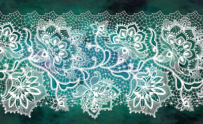 Digital Art - Lace - Teal by Lilia D