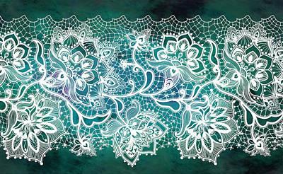 Digital Art - Lace - Teal by Lilia D