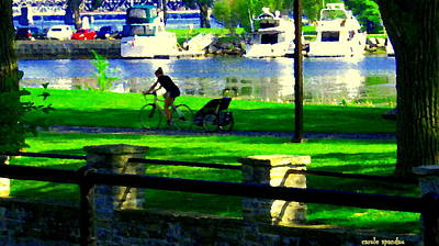 River Scenes Painting - Lachine Canal Bike Path A Nice Day To Cycle On The Water Front Quebec Scenes Montreal Carole Spandau by Carole Spandau
